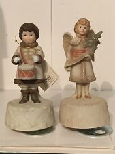 Vintage Schmid Shackman Angel & Drummer Boy Music Box Figures Music Doesn'T Play