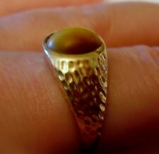 3.6g TIGER EYE RING gem stone Yellow Gold mark Hammered unisex CAN SIZE estate