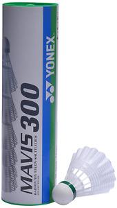 YONEX Mavis 300 Badminton Shuttlecocks 6 pieces, White, 78-Medium-Blue