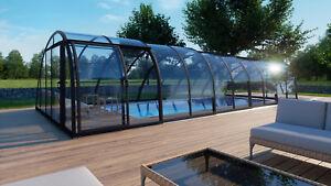 Poolüberdachung Schwimmbadüberdachung Monaco Future Clear A vormontiert L 8,60 m