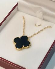 Van Cleef Arpels Style Necklace  16 Inch With Real Onyx Stone 18 K Yellow Gold