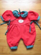 Tenue poupon Corolle 42 cm : barboteuse de Noël du bébé nourisson 1997