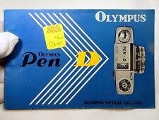 Olympus Pen D camera Instruction Guide Owners Manual English EN