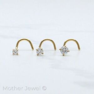 ROUND SIMULATED DIAMOND NOSE PIERCING SCREW TWIST 20G 14K YELLOW GOLD IP STUD