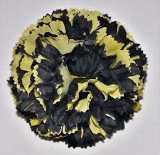 "3.5"" Black & Light Yellow Carnation Silk Flower Hair Clip Wedding Bridesmaid"