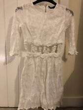 Topshop Lace Embroidered Cut Out White Dress Size 6 - Summer Vintage