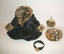 MATTEL BARBIE DOLL BLACK DRESS COAT FAKE FUR FAUX LEOPARD HAT & PURSE CE SET #3