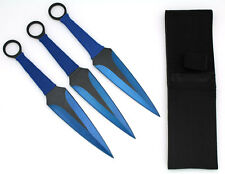 Snake Eye Tactical BLUE 3 Piece Two Tone Throwing Knife Set w/ Sheath 9""