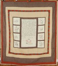 """UNUSUAL Vintage """"What is a Fisherman?"""" Quilt ~Hand Embroidered Pictorial Blocks!"""