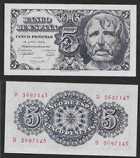 "5 Pesetas 1947 ""Séneca"". Serie D. nº 3697145. SIN CIRCULAR PLANCHA. ESCASO."