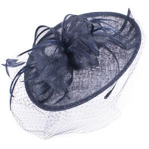 Women Kentucky Derby Sinamay Fascinator Wedding Elegant Hat Headpiece T445
