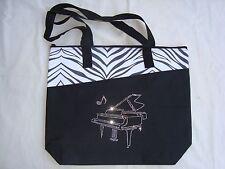 "PIANO MUSIC Tote Bag Bling W/Rhinestones Black 18' x 15"" Brand NEW Beautiful"