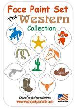 10 Piece Face Painting Stencil Set Western Cowboy Horse