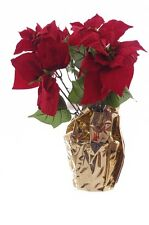 Red Poinsettia Christmas Holiday Floral Artificial Flower Arrangement Gold NEW