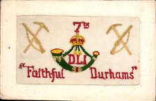 WW1 Regimental Silk. Durham Light Infantry. 7th. Faithful Durhams.