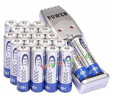 20pcs  AA BTY Rechargeable Battery 1.2V 3000mAh Ni-MH with USB Powdered Charger