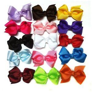 LOTS MIX 15PCS Boutique Hair Bows Girl Baby Alligator Grosgrain Ribbon Headband