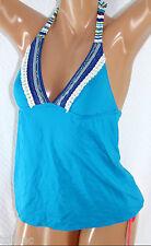 *NWT Lucky Brand Primitive Punch Blue Halter Tankini Swimwear Top M Medium LB22
