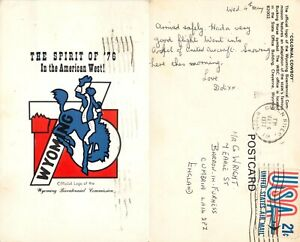 s14494 Colonial Cowboy, Bicentennial logo, Wyoming, USA postcard  1976 stamp