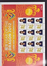 2012 Year Dragon Lunar New Year Stamp Sheetlet Australia Post Christmas Island *