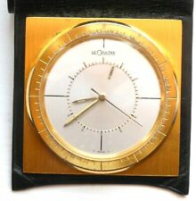 More details for rare miniature lecoultre memovox travel / alarm clock with leather case