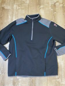 Under Armour Golf Mens Half Zip Fleece Sweater Pullover XL Black Blue Gray EUC