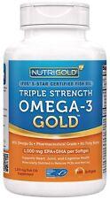 Omega-3 Fish Oil - NutriGold Triple Strength Omega-3 Gold, 180 Softgels - 1000