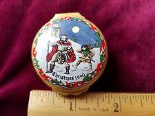 Halcyon Days Small Enamel Trinket Box, Christmas 1990
