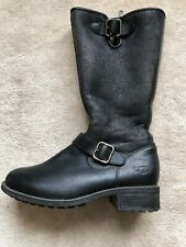 UGG Chancery Tall Moto Shearling Suede Leather Winter Buckle Boots Black 7