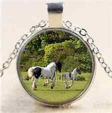 Mother horse and foal Cabochon Glass Tibet Silver Chain Pendant Necklace
