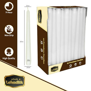 Lehadlik - 50 x Unscented White Bistro Tapered Dinner Candles 8-9 Burn Time 25cm