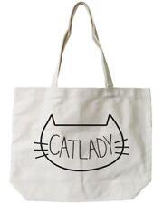 Cat Lady Canvas Tote Bag - 100% Cotton Eco Bag, Shopping Bag, Book Bag