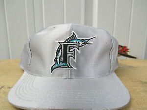 VINTAGE FLORIDA MIAMI MARLINS SILVER BOYS YOUTH SNAPBACK HAT CAP NEW W/ TAGS