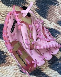 "Franklin 4528 9"" Junior RTP Pink Leather Baseball Glove Durabond Lacing Contour"