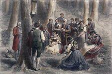 UN PÈLERINAGE en ALSACE (ALSACIENS en COSTUMES) - Gravure couleur du 19e siècle