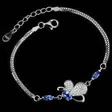 Sterling Silver 925 Genuine Natural Tanzanite Butterfly Bracelet 6.25 -7.25 Inch