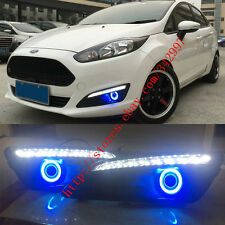 2x LED DRL Daytime Day Fog Lights Projector+Angel Eyes For Ford Fiesta 2013-2015
