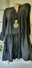 Damenkleid Boho Italy  Minikleid  oder lange Tunika Langarm Gr 40 42 Schwarz