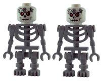Lego 2x graues Skelett rot schwarze Augen white skeleton red eyes gruselig Neu