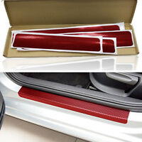 4x Rot Carbon Fiber Look Auto Einstiegsleisten Aufkleber Abdeckung Anti-scratch