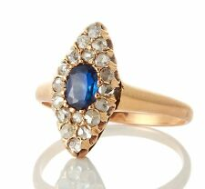 Antique Russian 14k Gold Natural Sapphire Rose Cut Diamond Navette Ring 72217300