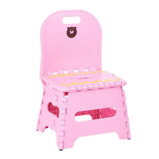 Home Kids Children Plastic Foldable Chair Step Stool with Backrest~Pink_S