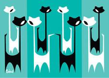 "Clee Sobieski PRINT Mid Century Modern Black Cat Retro Atomic 60s-inspired 7x5"""