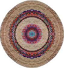 Handmade Braided Cotton Jute Area Rug Yoga Mat Multi Color Round 3 X 3 Fit
