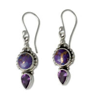 Vintage 925 Silver Amethyst Drop Dangle Hook Earrings Engagement Wedding Jewelry