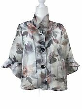 Joseph Ribkoff size 6 jacket sheer floral button front gray 201539 sheer