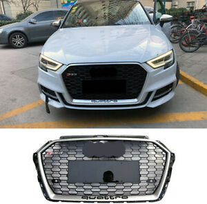 For Audi A3 S3 RS3 Front Black Bumper Grille Silver Border Honeycomb 2017 2018