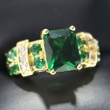 3 Ct Princess Green Emerald Ring Women Jewelry 14K Rose Gold Plated Free Ship