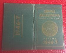 VERY RARE SEASON TICKET BOOK - CREWE ALEXANDRA - 1946- 1947- ONLY A FEW EXIST