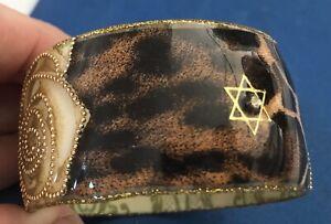 Iris Designs Cold Enamel Bangle Flower Design Jewish Star Brown & Beige